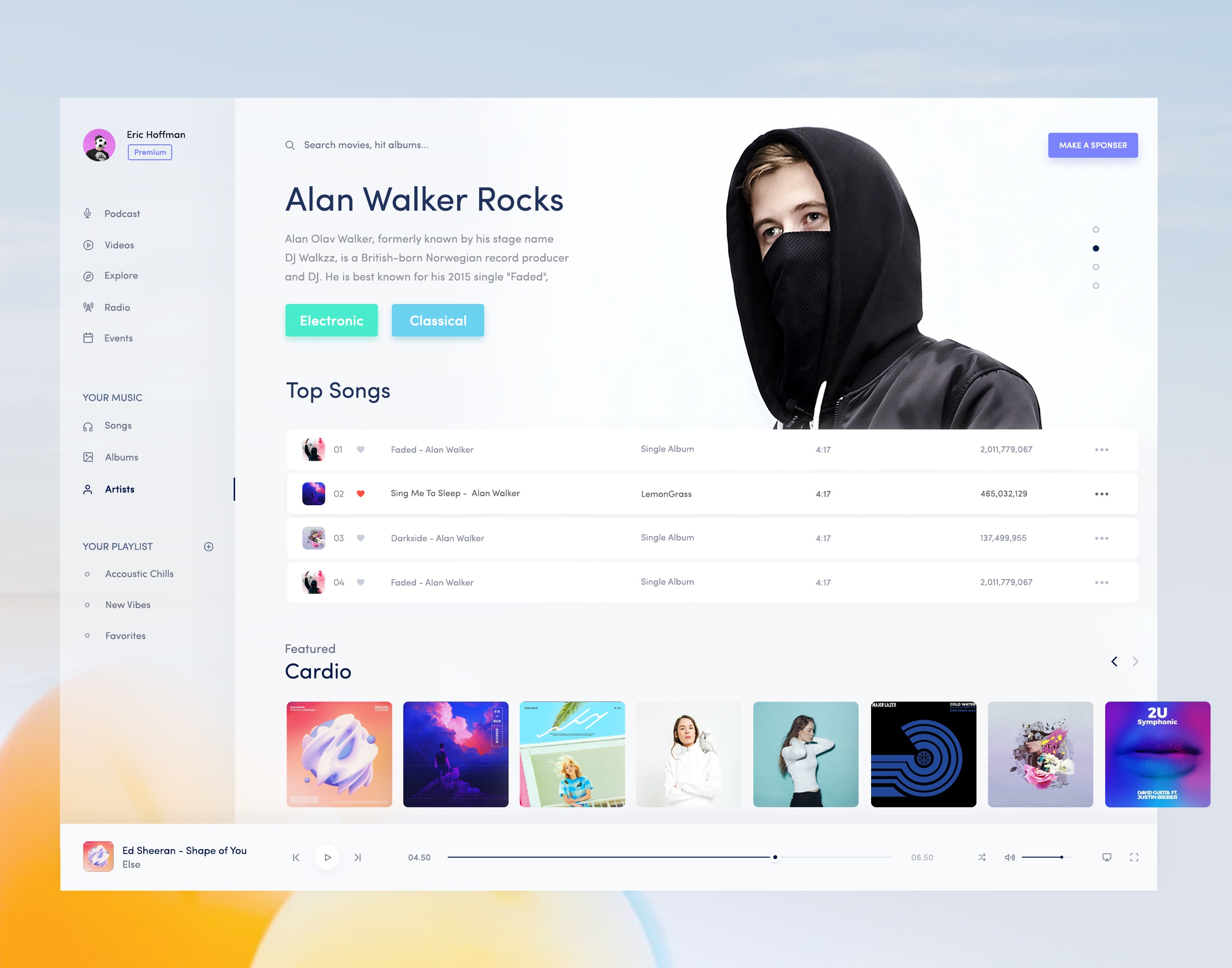 Music artist page light preview