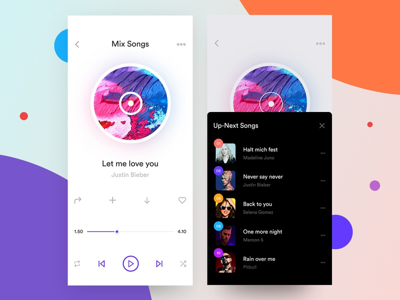 Music App Player & Pop Up Screen i phone x app player design iphone x user experience designer social music app visual design user experience design spottily  streaming social media features music experience interface itunes discover music album artwork music app player