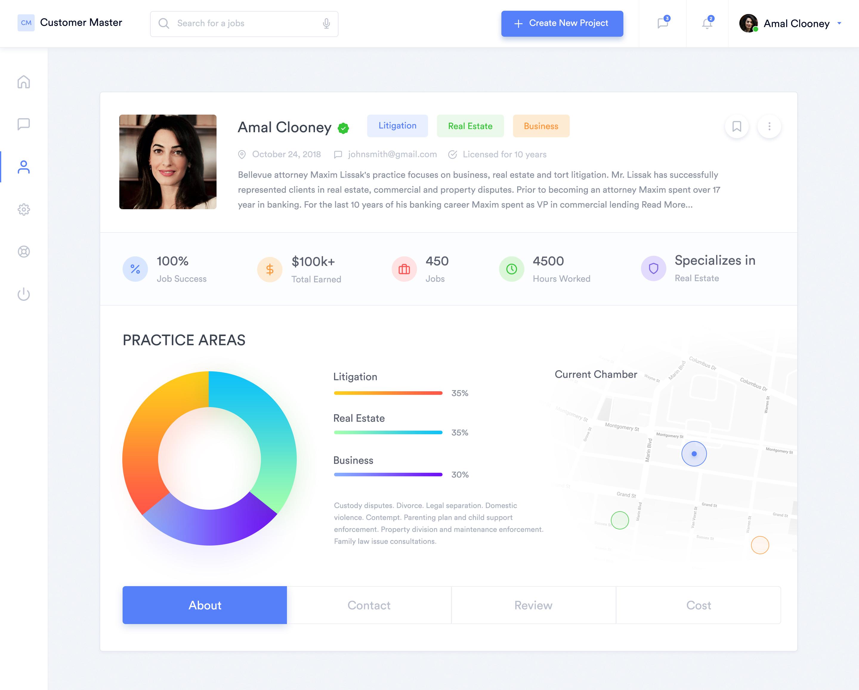 Customer dashboard profile screen