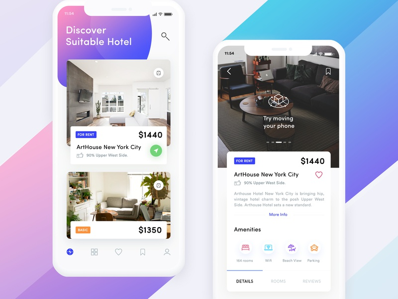 Hotel Booking App Exploration hotel booking app ar real estate app ar hotel view ar hotel app travel flight app travel app real estate app property app product design hotel app popular hotel popular booking app iphone x booking app hotel booking home screen booking details page accommodations rent hotel destination data visualization booking hotel app