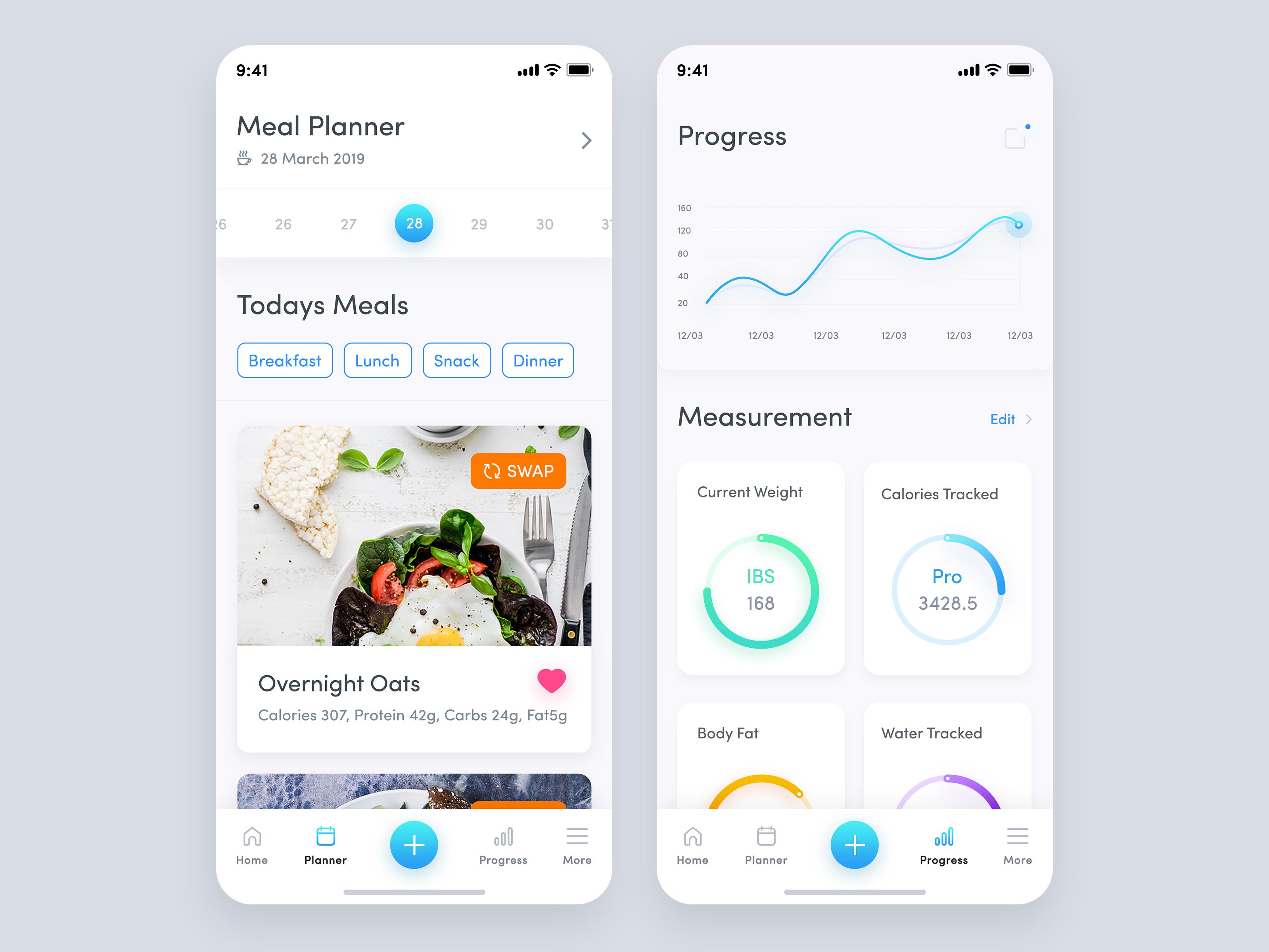 Meal plan application design planner   track progress screen 02