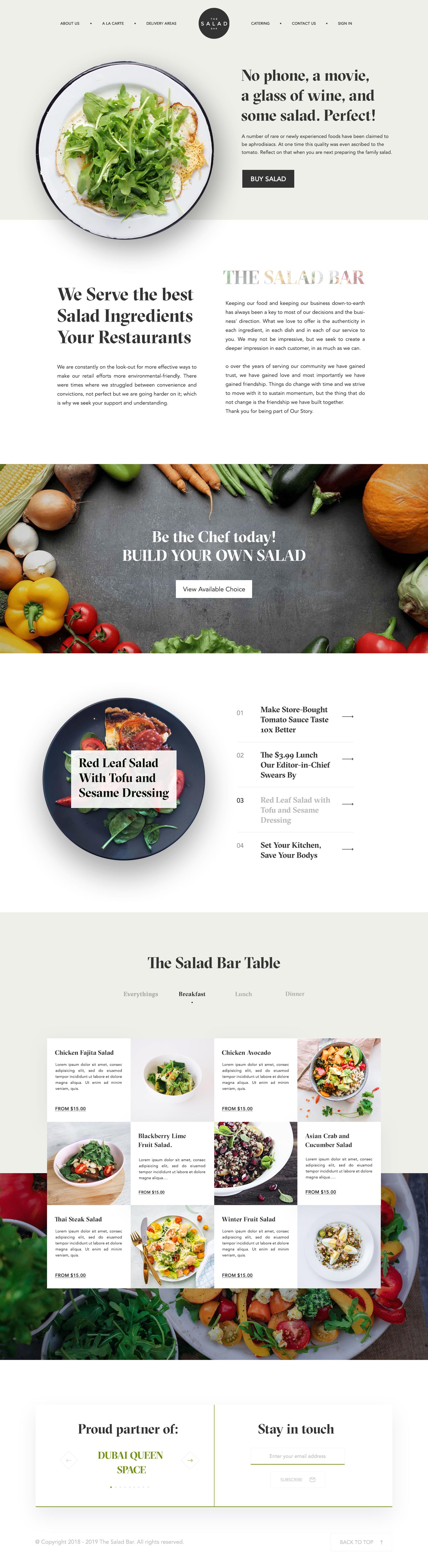 The salad bar homepage design