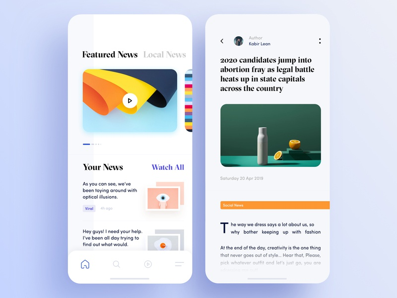 News Application Design Feed Page iphone x app discover news application toolbar ai news application design minimal news app blog mobile layout featured news news feed tabbar news app ui ux news feed page design news application design