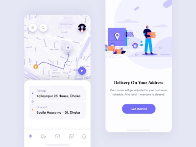 Courier Delivery Application 2019 app ios app mobile design mobile app design product design order map tracking pickup courier delivery on your address delivery illustration empty state location tracker tracking app delivery application design uiux parcel application design courier delivery application