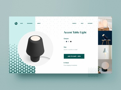 Accent Table Light Product Page Design