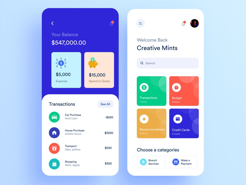 Bank Mobile Application Design mobile design finance app fin-tech app make a payment screen make a payment screen 2019 app recommendation screen recommendation screen budget screen budget screen transactions page spend to goal expense screen bank app design bank mobile application design bank mobile application design