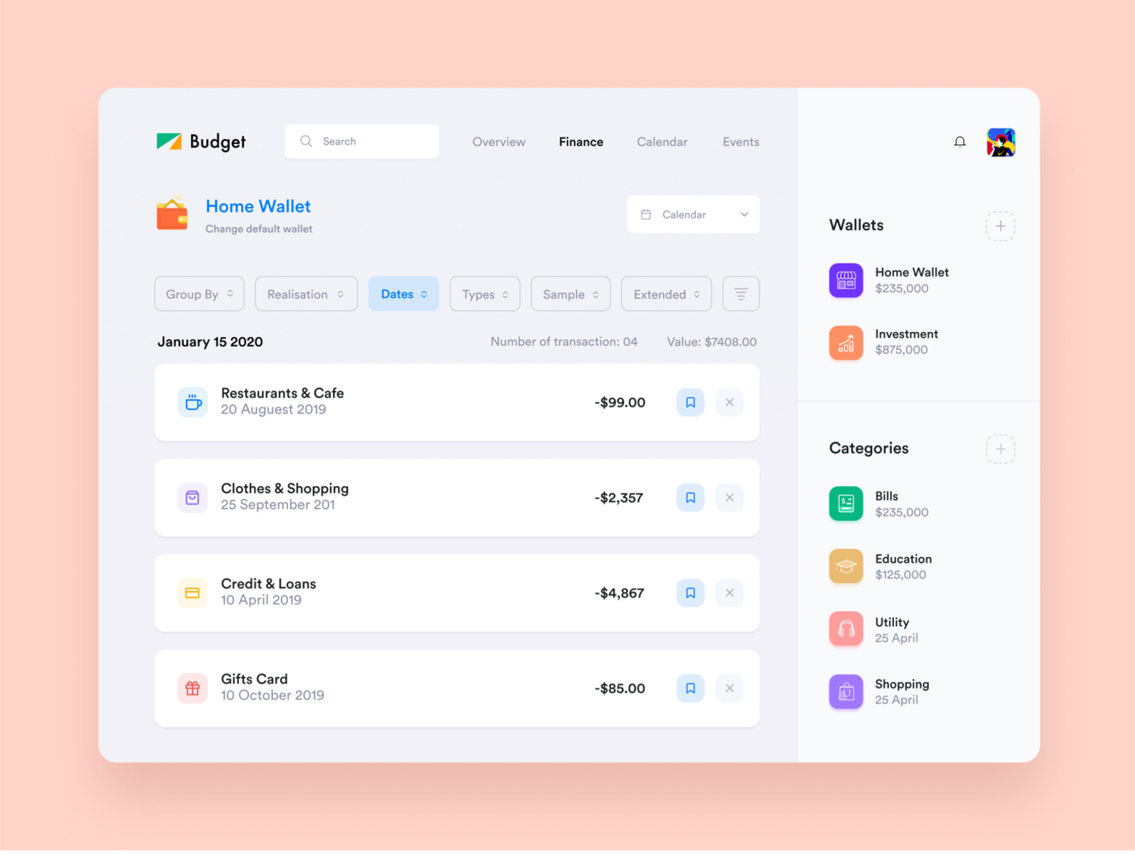 Finance Budget Web Application Design By Masudur Rahman On Dribbble
