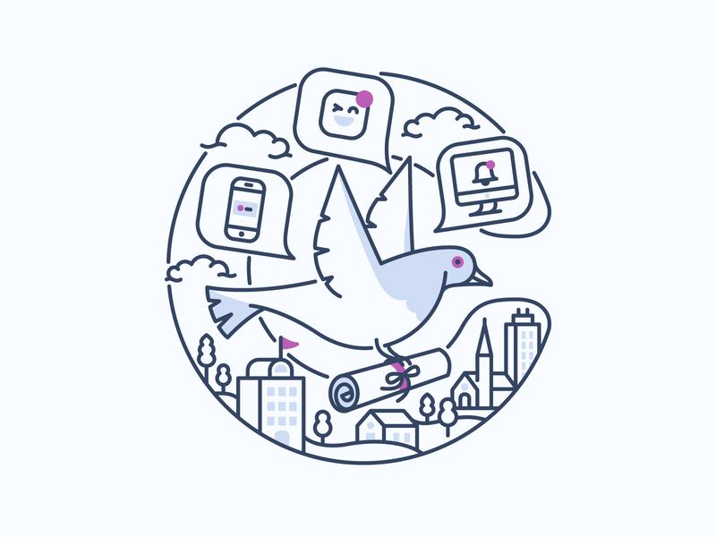Courier | The notification pigeon tshirt bird illustration app notification message send bird courier