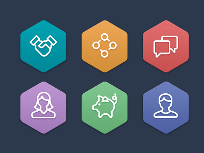 Category Icons stroke glyph icons set hexagon iconography profile chat process pig handshake symbol line consistent