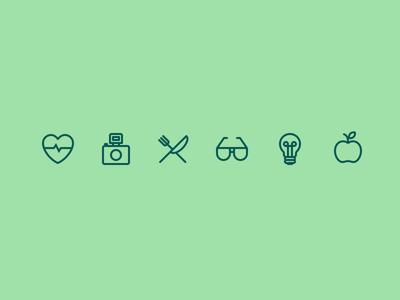 Category Icons icons iconography symbol set flat icon camera heart glasses stroke thin ios7