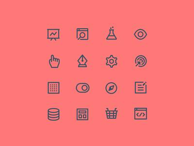 Octopus Iconography ui icons web icons app icons icon designer icon design icon set icon symbol stroke line iconography testing eye hand