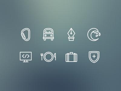 Octopus Iconography icons iconography symbol set flat icon camera heart glasses stroke thin ios7