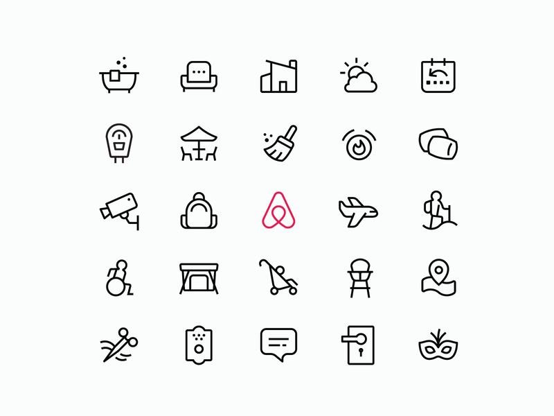 Airbnb Amenities cabin hotel stay house travel icon designer brand icons icon system iconset icon design iconography icons airbnb