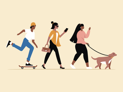 Character Study illustration phone skateboard dog walking diversity people characters