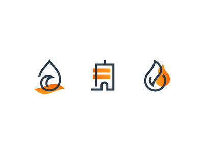 Duotone Flow custom gradient lines modern icon designer icon design icon line iconography icons building fire flame