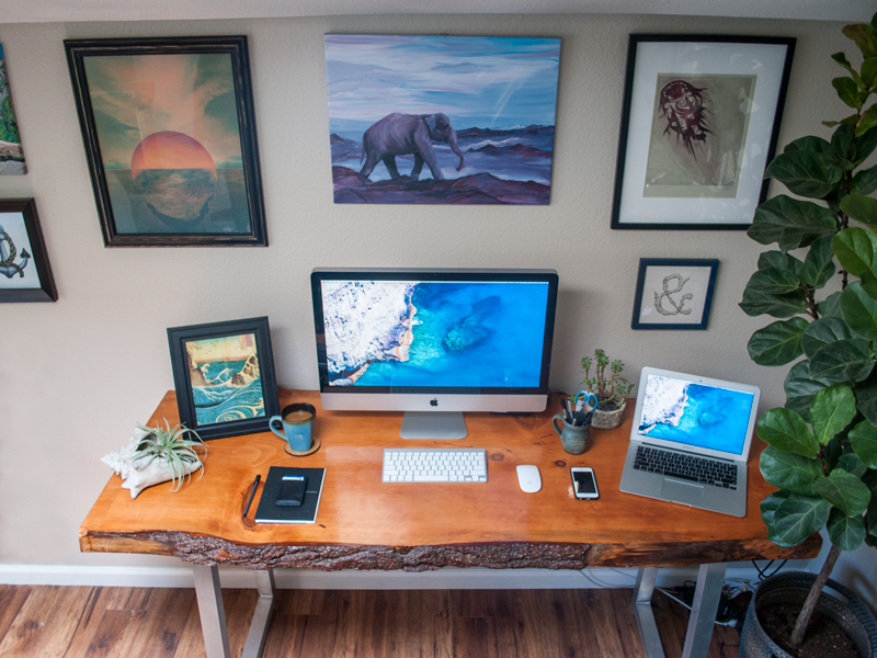 My Home Workspace desk workstation mac laptop coffee wood office home print workspace notebook nature