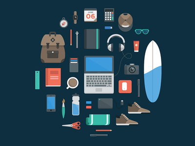 My Freelance Essentials marketing illustration flat icons icon set icon deigner website illustration web illustration icon design feature illustration freelance icon designer iconography flat set essentials headphones website laptop surfboard personal