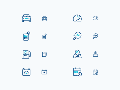 GM | Responsive Iconography diagnostics cars vehicles gm responsive scalable tiered duotone line icon designer icon design iconography icon set icons