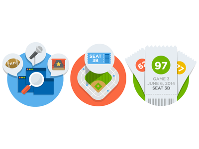 SeatGeek - Feature Illustrations illustrator icon designer icon design feature illustrations illustrations marketing icons illustration flat ticket stadium feature icon website search