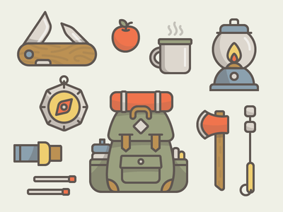 Adventure Gear hiking gear illustration essentials icon shadow outdoors adventure backpack camping