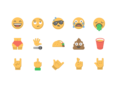 Moji emoji icon set iconography emotion gesture