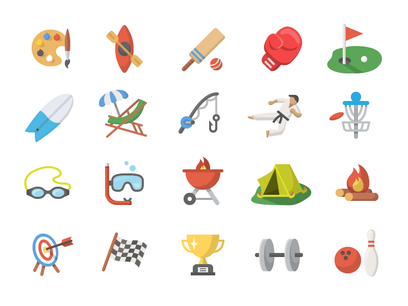 Activity Iconography icons design flat shadow emoji iconography