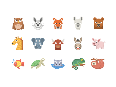 Animal Emoji Set set flat iconography icon emoji animal