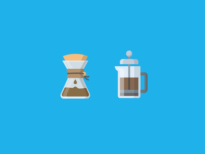 Brewin' Coffee iconography shadow flat illustration icon chemex frenchpress brew coffee