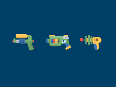 Weaponry icons illustration gun water laser nerf