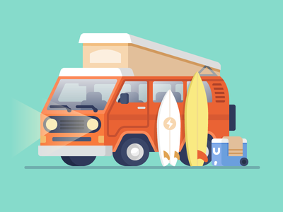 Surf Trip illustrator marketing illustration feature illustration website illustration web illustration illustration vanagon westfalia explore van trip surf