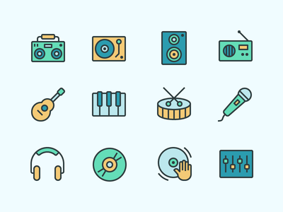 Jam On🤘 record guitar speaker headphones boombox icon flat color set iconography icons music