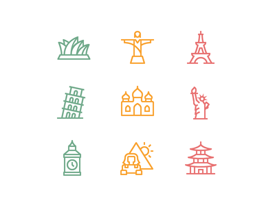 Landmarks for Love app icons icon set icon designer icon design ios set icon iconography icons love wonder world peace landmark