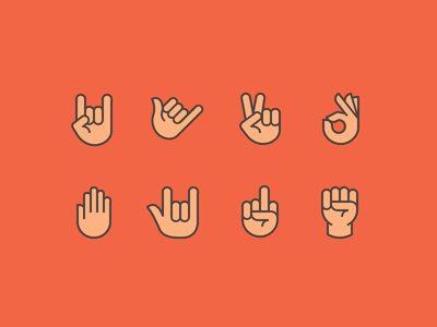 Hand Gestures iconography shaka peace signs hand gestures icons