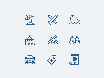 Travel Icon Suite line set iconography icons cruise bike vacation hotel fly travel