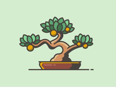 Bonsai illustration zen nature plant pot tree bonsai