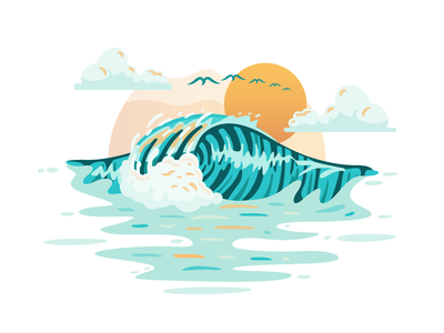 Pipeline | North Shore, Hawaii pipeline hawaii illustration surf landscape ocean surfing wave