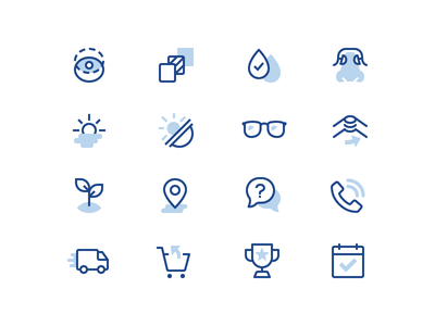 Clearly Eyewear Iconography app icons icon designer icon design duotone icon ios color line eyewear glasses iconography icons
