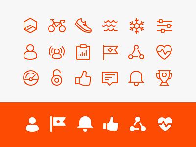 Strava App - Iconography iconography line icon set icons app strava