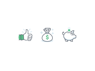 $$$ money bag thumbs up piggy bank line color illustration iconography savings money icons