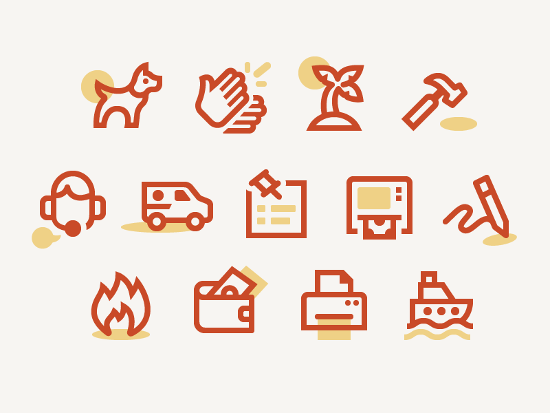 Australia Post Iconography color duotone line iconography icon set icons