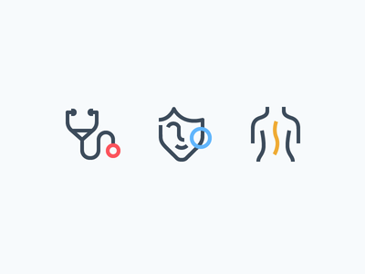 Health Iconography stethoscope heart body skin consistent line icons health