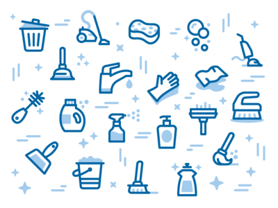 MaidPro Icon Pattern cleaning maid color duotone line iconography icon set icons