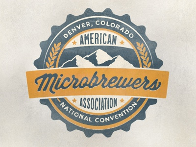 American Microbrewers Association microbrewers logo beer hops bottle cap brew badge pint hand drawn