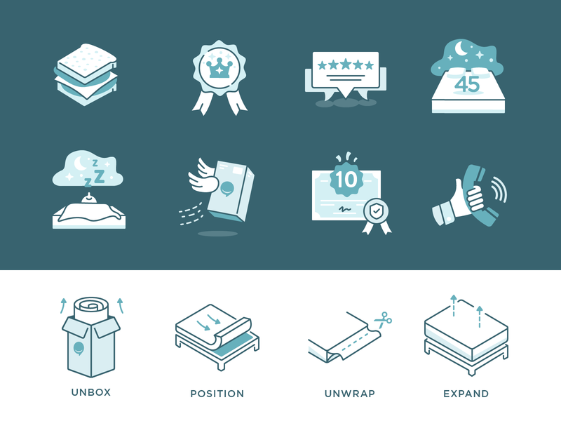 Frankly Mattress Marketing Icons illustration icons