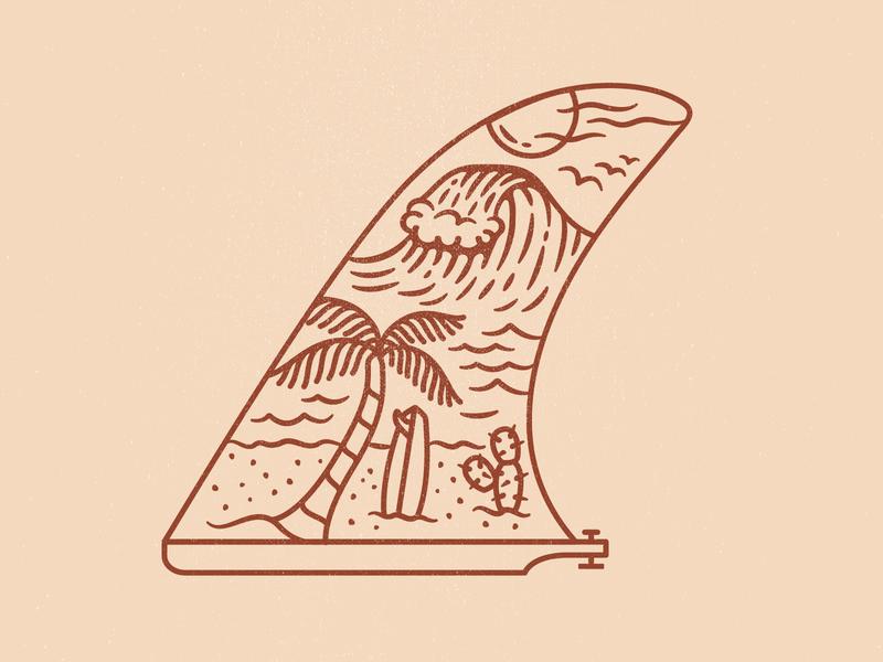 Deserted Beach 🌵 line palmtree fin longboard wave surf surfing illustration