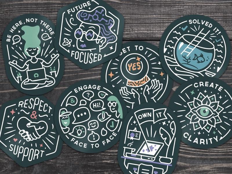 Sticker Series » ServiceNow line motivational series sticker badge illustration