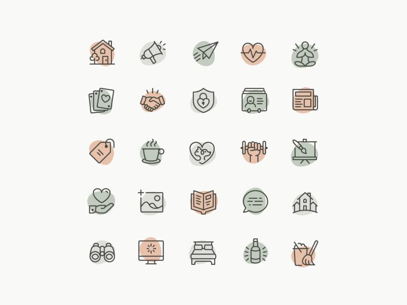 Wellness Icons - Full Set organic duotone work out clean yoga meditation health line illustration iconography icon set icons wellness