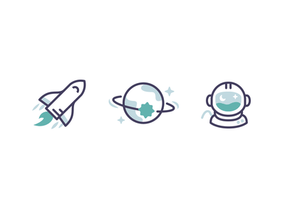 Cosmic marketing illustrations feature illustrations feature icons website icons marketing icons space icons icon designer icon design rocket space shuttle planet outer space astronaut icon set cosmic icons