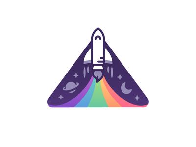 Paint the Sky shuttle space age rocketship paint launch space badge explorer cosmic