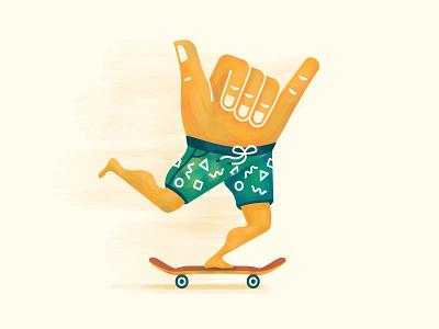 Boom Shakalaka chill good vibes cruise surfer illustration skateboard skate skater aloha shaka